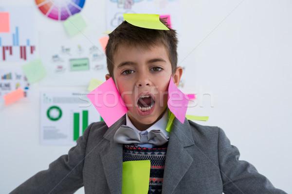少年 ビジネス 執行 付箋 顔 オフィス ストックフォト © wavebreak_media