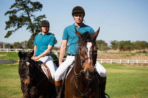 Dois masculino equitação cavalo rancho Foto stock © wavebreak_media