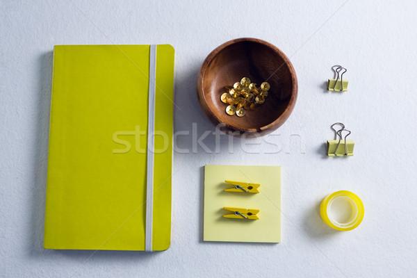 Close-up various stationery on white background Stock photo © wavebreak_media