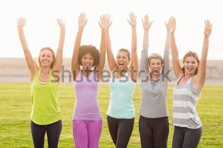 Happy sporty women dancing during fitness class Stock photo © wavebreak_media
