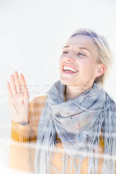 женщину серый шарф за окна Сток-фото © wavebreak_media
