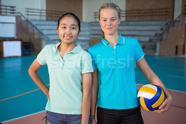 笑みを浮かべて バレーボール プレーヤー 立って 一緒に ボール ストックフォト © wavebreak_media