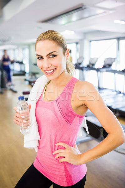 Uygun gülümseyen kamera spor salonu mutlu spor Stok fotoğraf © wavebreak_media