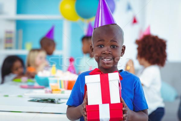 Feliz crianças festa de aniversário abrir presentes comida Foto stock © wavebreak_media