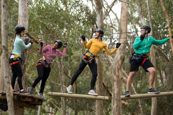 Friends enjoying zip line adventure in park Stock photo © wavebreak_media