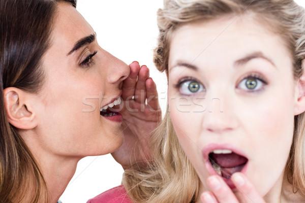 Vrouw vriend oor permanente Stockfoto © wavebreak_media