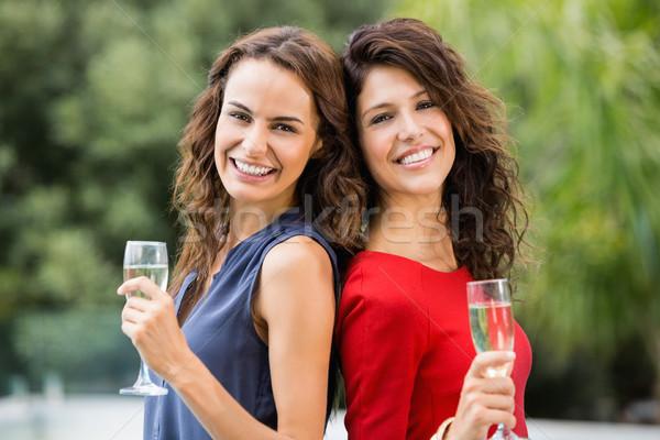 улыбаясь женщины друзей шампанского флейты Сток-фото © wavebreak_media