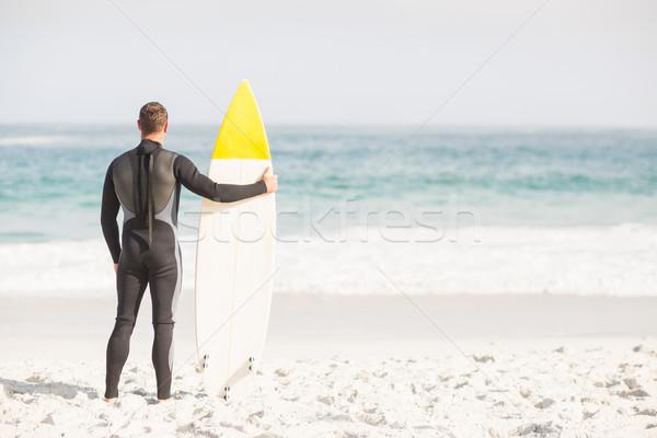 вид сзади человека доска для серфинга Постоянный пляж Сток-фото © wavebreak_media