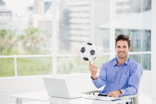 Affaires football doigt portrait bureau ordinateur Photo stock © wavebreak_media