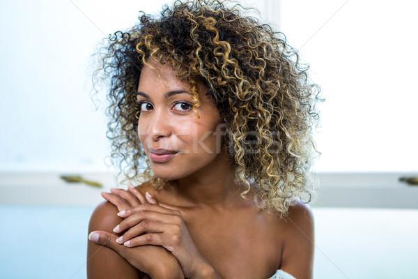 Portre genç kadın gülen banyo ev kadın Stok fotoğraf © wavebreak_media
