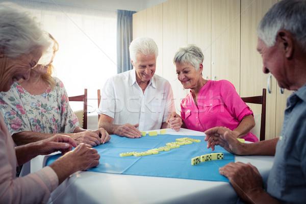 Csoport idősek játszik nyugdíj ház nő Stock fotó © wavebreak_media