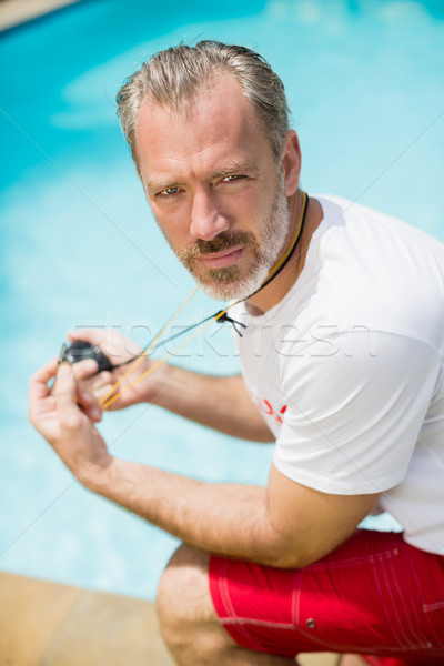 Portre yüzmek koç kronometre Stok fotoğraf © wavebreak_media