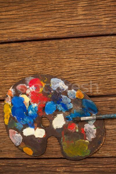 Palette multipla colori pennello legno istruzione Foto d'archivio © wavebreak_media