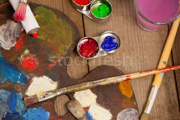Palette with multiple colors, watercolor and paint brushes Stock photo © wavebreak_media