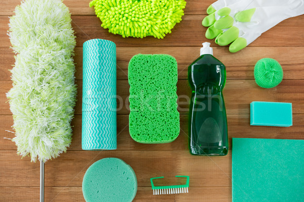 Overhead view of duster with cleaning equipment Stock photo © wavebreak_media