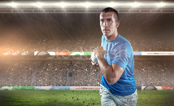 Composite image of rugby player running with ball Stock photo © wavebreak_media