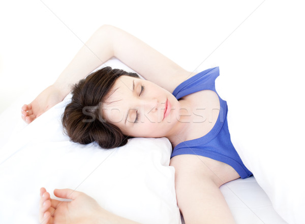Portre genç kadın uyku beyaz uzay yatak Stok fotoğraf © wavebreak_media