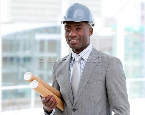Portret charyzmatyczny mężczyzna architekta plany Zdjęcia stock © wavebreak_media