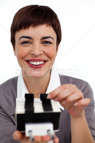 Positivo empresária consultor cartão de visita livro fundo Foto stock © wavebreak_media