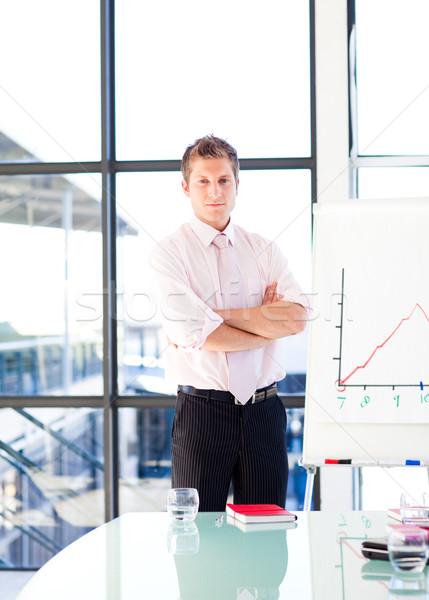 Gülen işadamı tanıtım ofis bilgisayar eğitim Stok fotoğraf © wavebreak_media