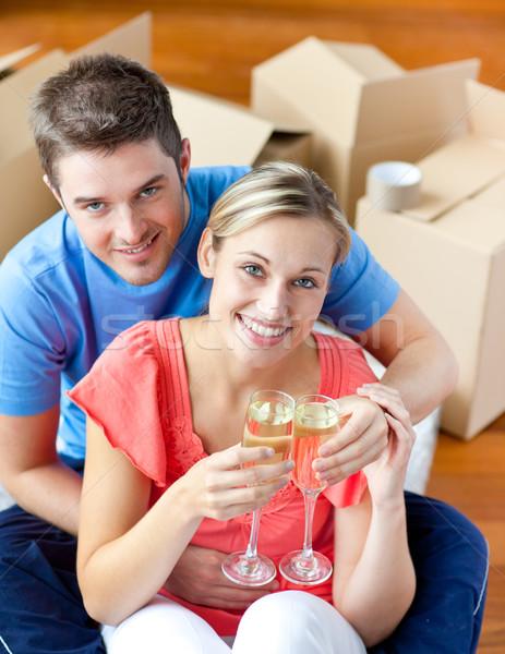 Photo stock: Couple · célébrer · champagne · séance