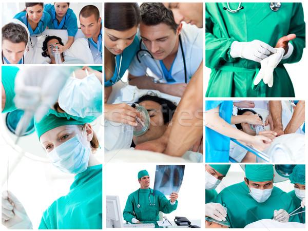 Kollázs sebészek műtét kórház orvos munka Stock fotó © wavebreak_media