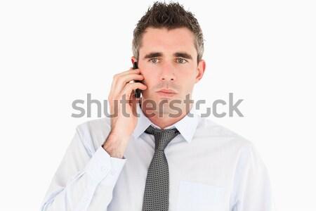 Foto stock: Infeliz · homem · telefonema · branco · negócio
