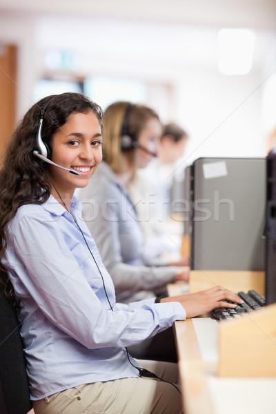 Portre gülen asistan çalışma bilgisayar call center Stok fotoğraf © wavebreak_media