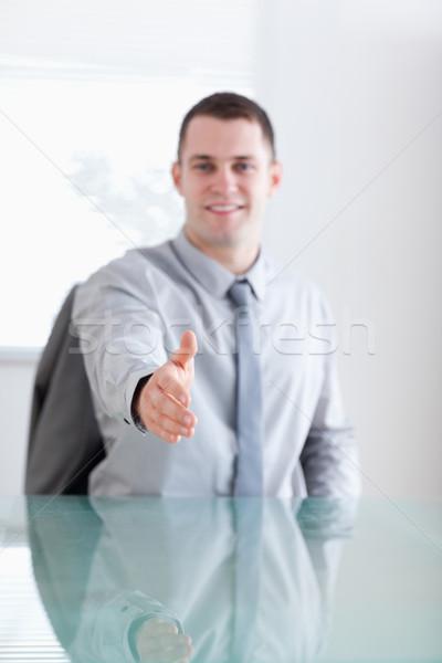 улыбаясь молодые бизнесмен приветствие переговоры Сток-фото © wavebreak_media