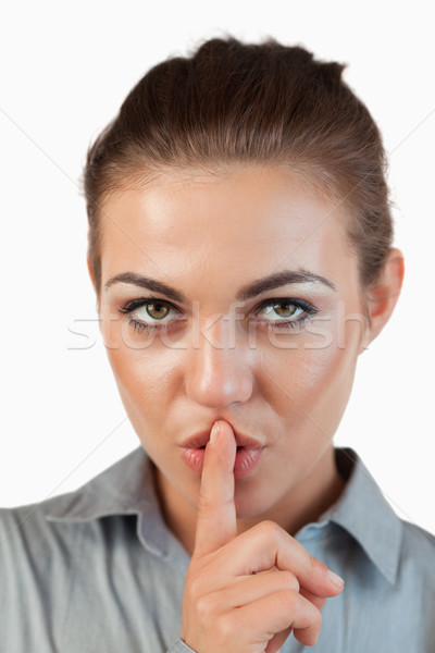 Empresária silêncio branco cara Foto stock © wavebreak_media