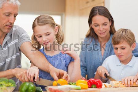 семьи приготовления кухне здоровья комнату девочек Сток-фото © wavebreak_media