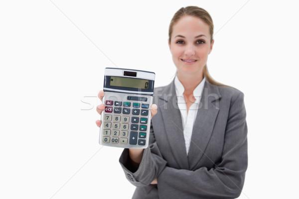 Zdjęcia stock: Banku · pracownika · kieszeni · Kalkulator · biały