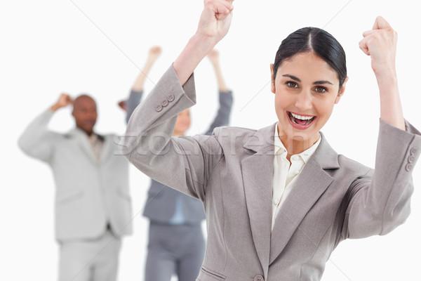 торжествующий деловая женщина за белый Сток-фото © wavebreak_media