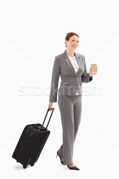 деловая женщина кофе чемодан бизнеса моде костюм Сток-фото © wavebreak_media
