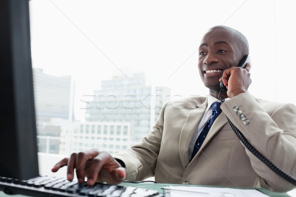 Businessman on the phone while using a computer in his office Stock photo © wavebreak_media