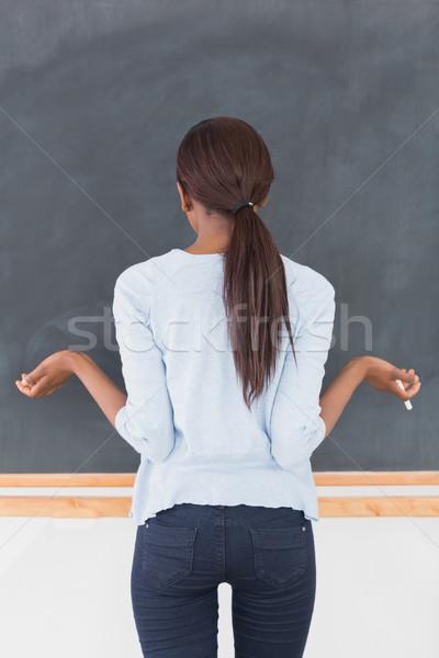 Mulher negra incerto sala de aula escolas educação exercer Foto stock © wavebreak_media