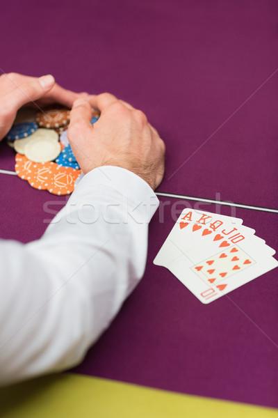 Férfi ül sültkrumpli közelkép kéz asztal Stock fotó © wavebreak_media