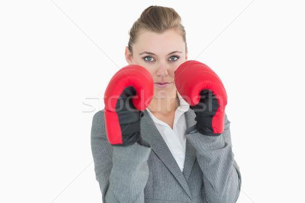 Photo stock: Portrait · femme · d'affaires · gants · de · boxe · costume · Homme