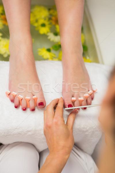 Nő lábujj körmök fürdő központ közelkép Stock fotó © wavebreak_media