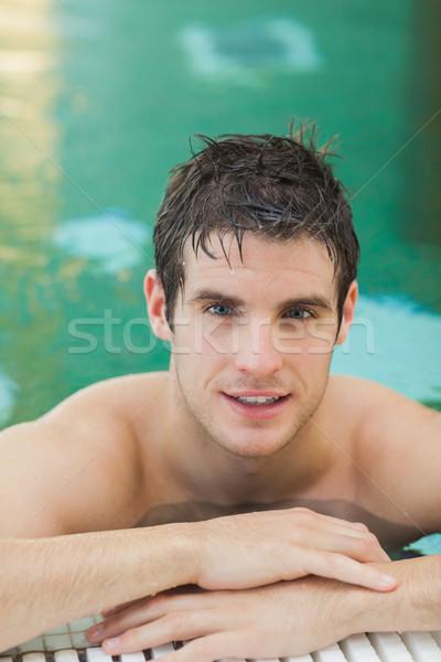 Yakışıklı adam havuz gülen su mutlu yüzme havuzu Stok fotoğraf © wavebreak_media