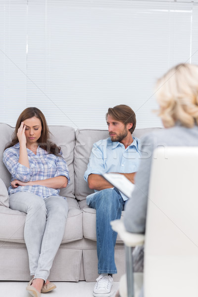 Woman crying on the couch Stock photo © wavebreak_media