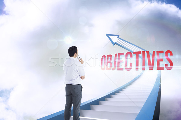 Objectives against red staircase arrow pointing up against sky Stock photo © wavebreak_media