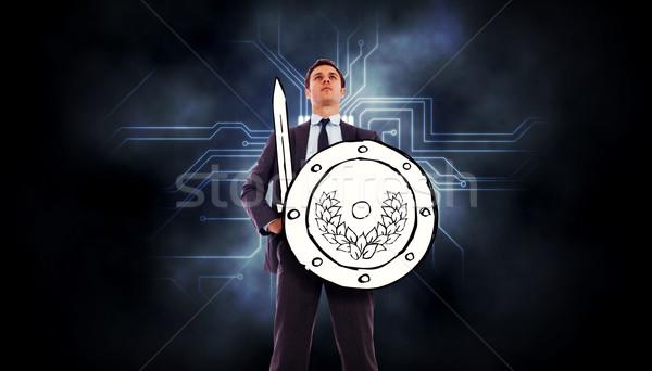 Afbeelding corporate krijger circuit board grafische Stockfoto © wavebreak_media
