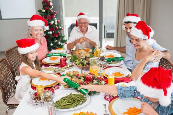 Vrolijk familie eettafel christmas diner huis Stockfoto © wavebreak_media