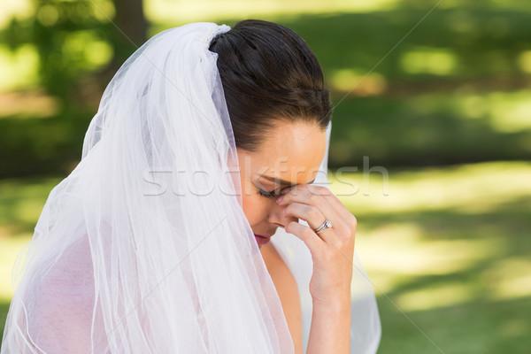 Mooie bezorgd bruid park zijaanzicht Stockfoto © wavebreak_media