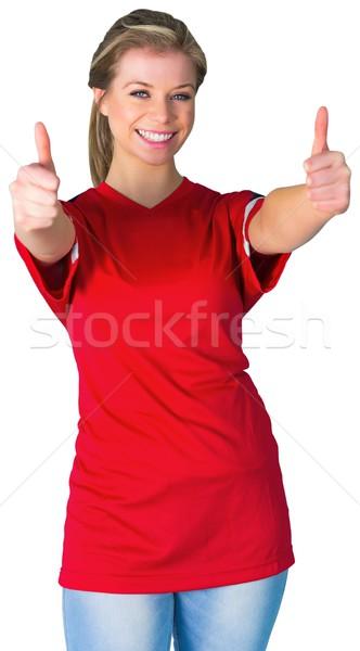 Stock fotó: Csinos · futball · ventillátor · piros · fehér · futball