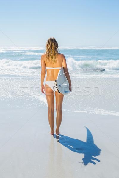Blond surfer witte bikini boord Stockfoto © wavebreak_media