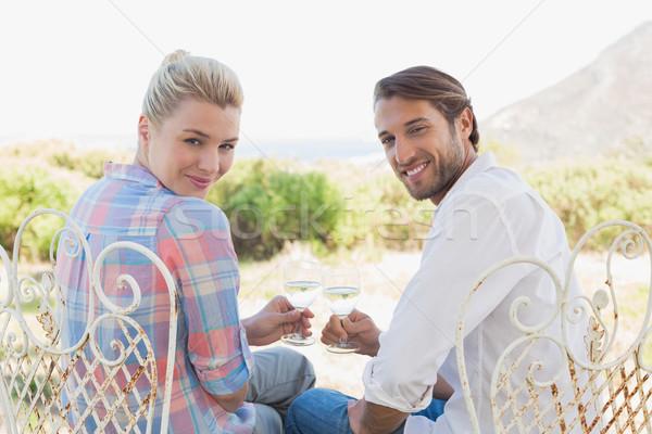 Boldog fiatal pér ül kert élvezi bor Stock fotó © wavebreak_media