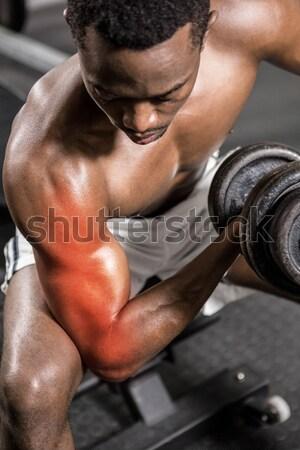 Középső rész póló nélkül izmos férfi tornaterem közelkép Stock fotó © wavebreak_media