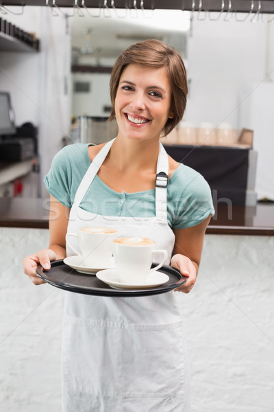 ストックフォト: ウエートレス · トレイ · コーヒーショップ · ビジネス · ワーカー